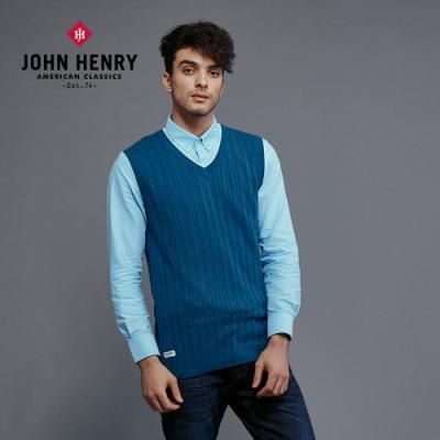 【JOHN HENRY】麻花針織背心-藍