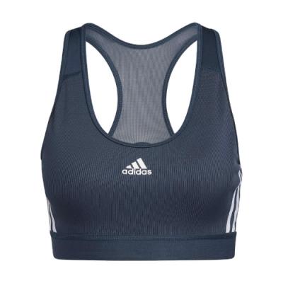 adidas 運動內衣 3-Stripes Rib Bra 女款 愛迪達 中度支撐 健身 重訓 瑜珈 藍 白 GM2963