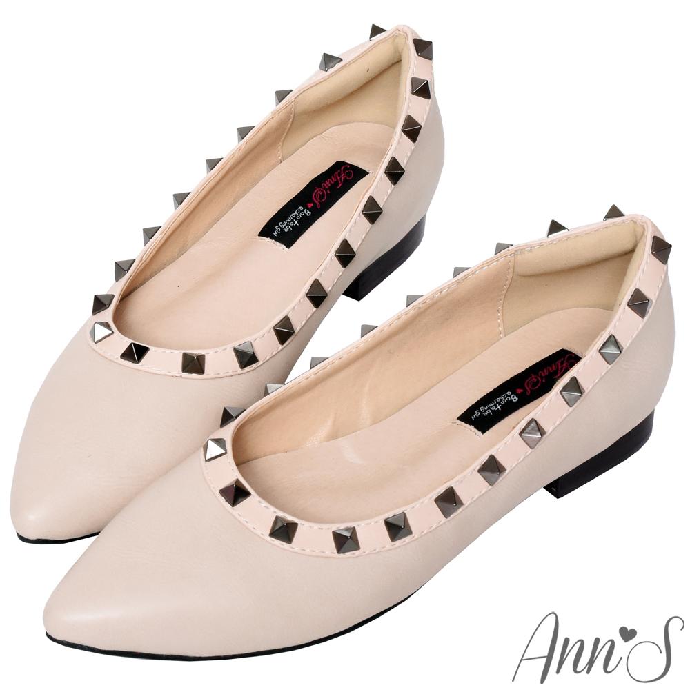 Ann'S精品收藏-鉚釘沙發後跟尖頭平底鞋-杏(版型偏小)