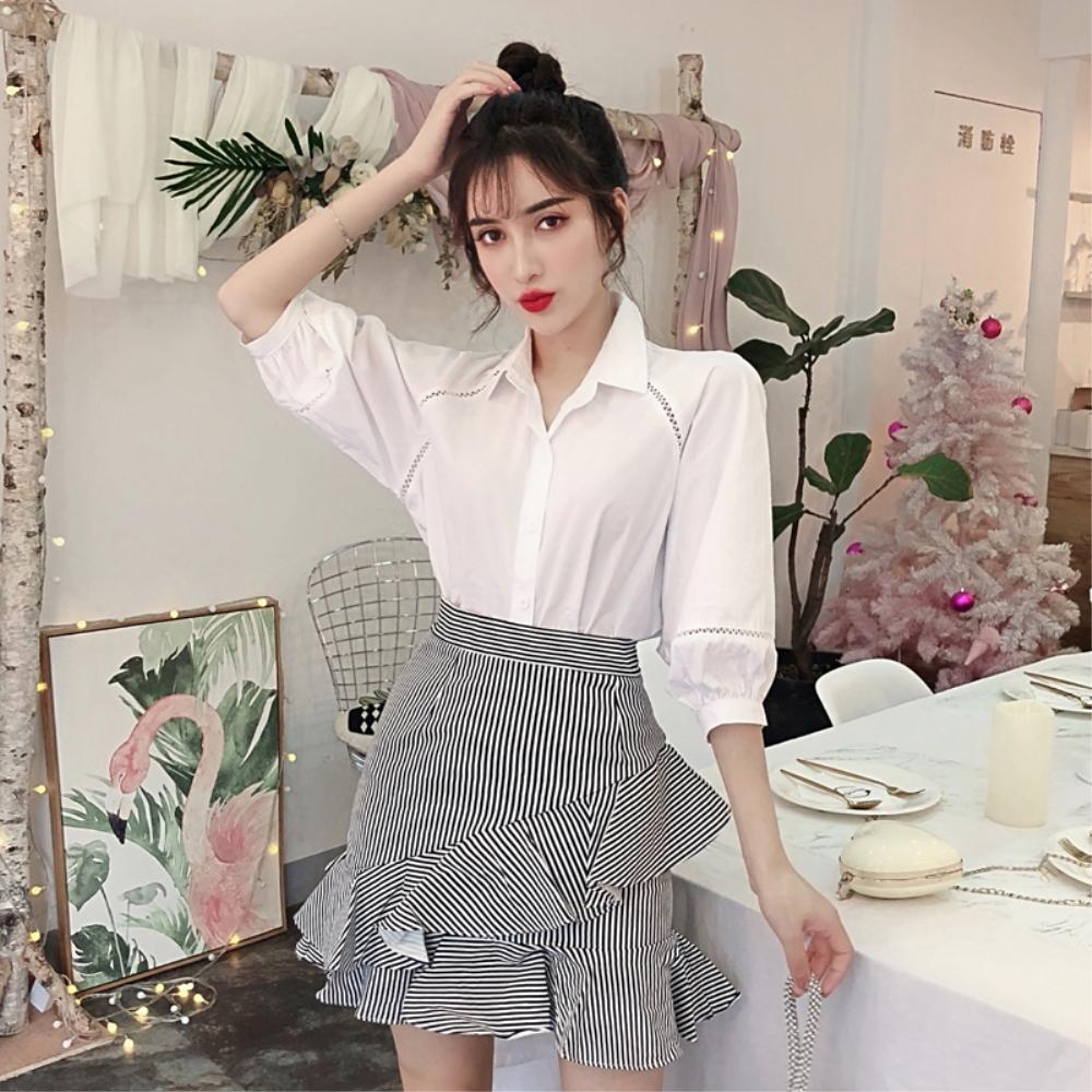 DABI 韓系襯衫條紋荷葉邊短裙套裝短袖裙裝