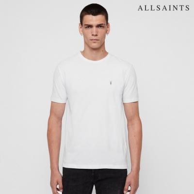 ALLSAINTS BRACE TONIC 公羊頭骨刺繡純棉修身短袖T恤-白