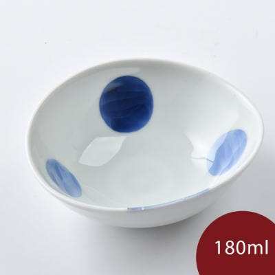 日本康創陶 和食器 前菜碗 藍點 180ml