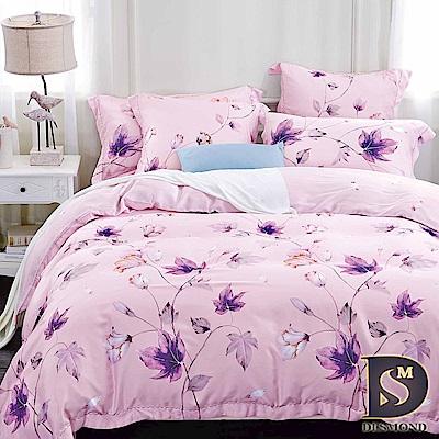 DESMOND 雙人100%天絲全鋪棉床包兩用被四件組/加高款冬包 瑟琳娜-粉