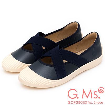 G.Ms. MIT系列-貝殼頭牛皮交叉鬆緊帶休閒便鞋-靛藍