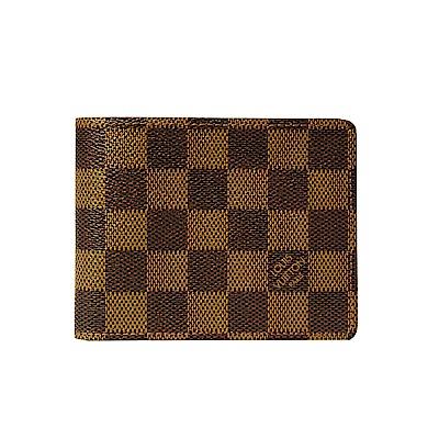(無卡分期12期)LV N60895 棋盤格Damier雙折短夾