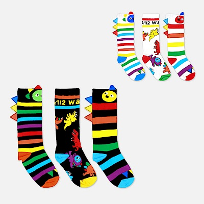 WHY AND 1/2 mini 三件組恐龍造型長筒襪 多色可選