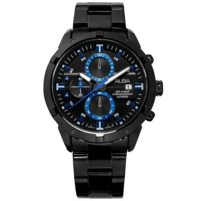 ALBA 廣告款 三眼計時 藍寶石水晶玻璃 日期 防水100米 不鏽鋼手錶-鍍黑/44mm