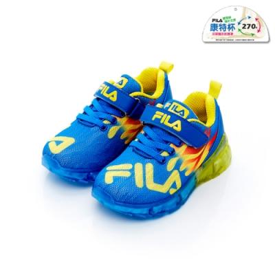 FILA KIDS 中童PVC電燈運動鞋-藍黃 2-J825T-399