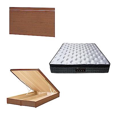 綠活居 梅娜6尺雙人加大床台三式組合(床頭片+後掀床底+抗菌天絲彈簧床墊)五色可選