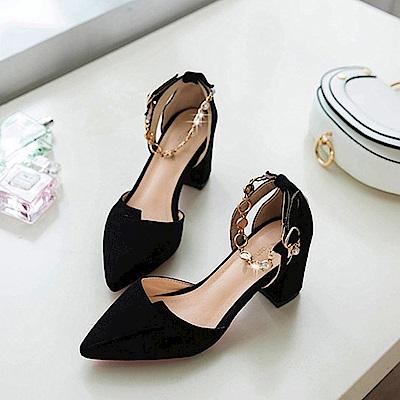 KEITH-WILL時尚鞋館 狂賣千雙鑽鑽粗跟鞋-黑色