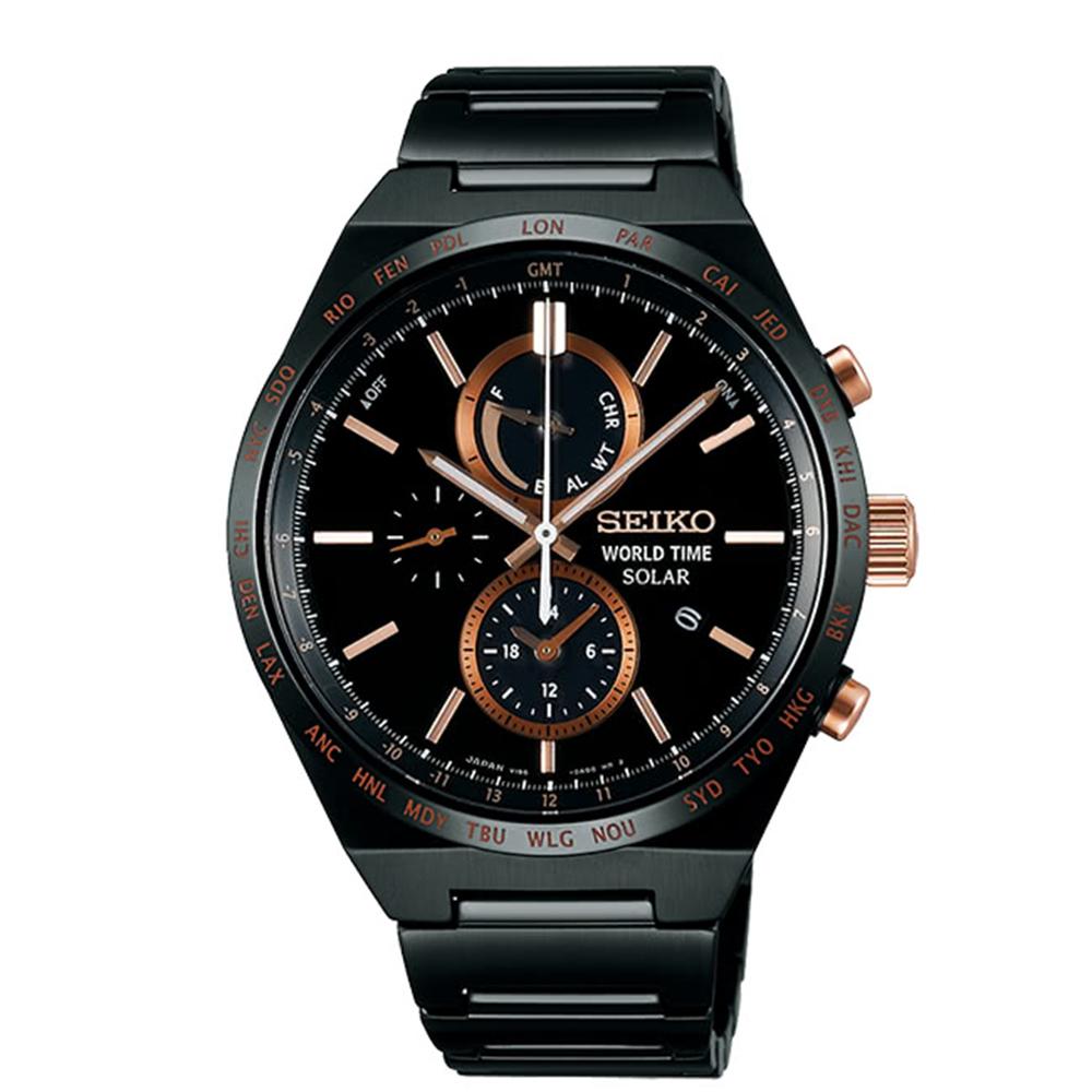 SEIKO精工SPIRIT太陽能兩地時間計時錶-鍍黑V195-0AE0K/SBPJ039J