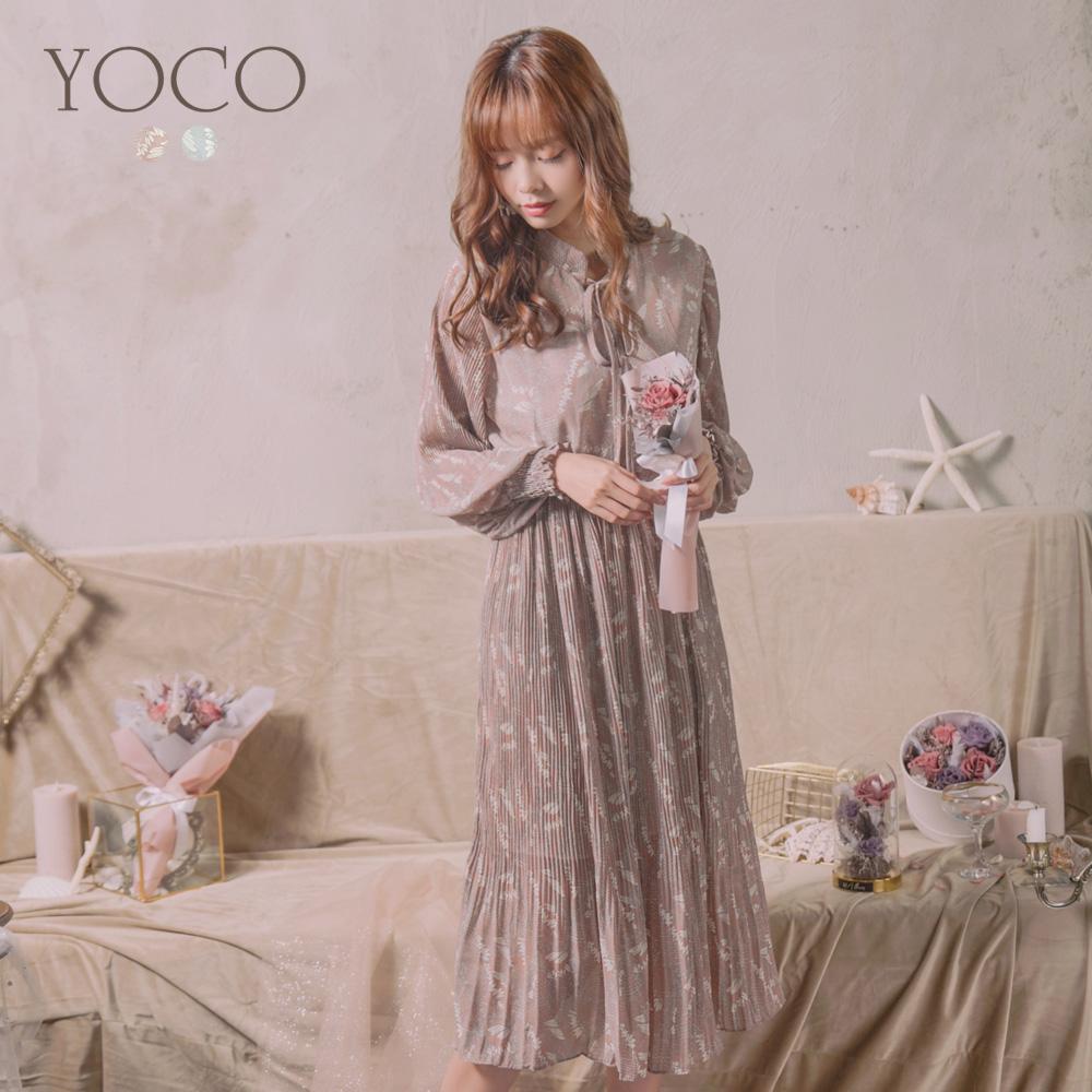 東京著衣-YOCO 氣質滿版綁帶領結縮口袖碎花洋裝(共兩色)
