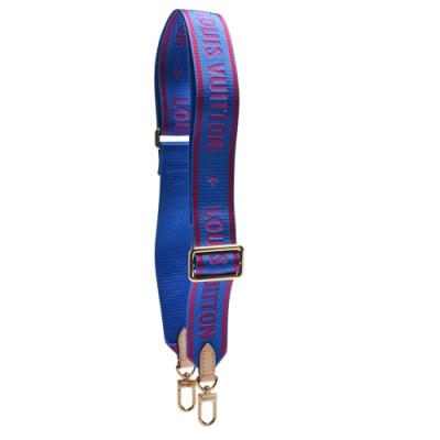 LV J02473經典BANDOULIÈRE品牌LOGO印花帆布背帶(藍色)