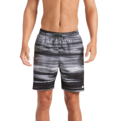 NIKE 海灘褲 沙灘褲 七吋短褲 男性 Sky Stripe Vital 黑 NESSA498-001(有內裡)