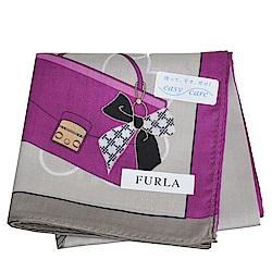 FURLA 繽紛愛心包包圖騰品牌字母LOGO帕領巾(灰/紫系)
