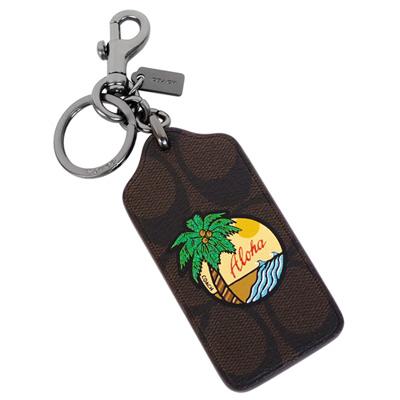 COACH深咖啡C Logo吊牌椰樹圖印雙扣環鑰匙圈