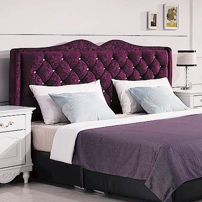 AS-德薇爾6尺紫色絨布床頭片-183*12*119cm