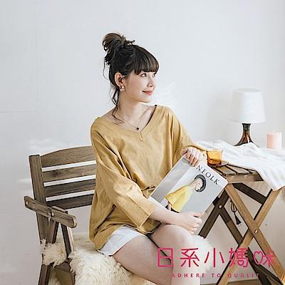 日系小媽咪孕婦裝-正韓孕婦裝~初秋V領配色條紋上衣