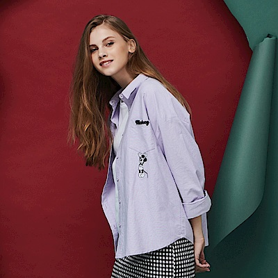 CACO-米奇電繡襯衫-情侶款-女【RDI016】