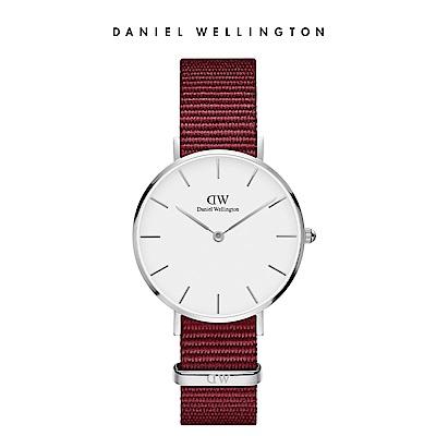 DW 手錶 32mm銀框 Classic Petite 玫瑰紅織紋手錶