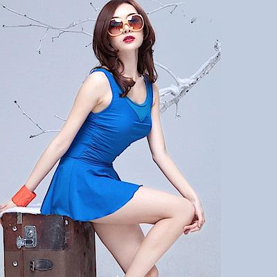Biki比基尼妮泳衣   麗亞連身泳衣加大泳衣大尺碼(寶藍M-3XL)