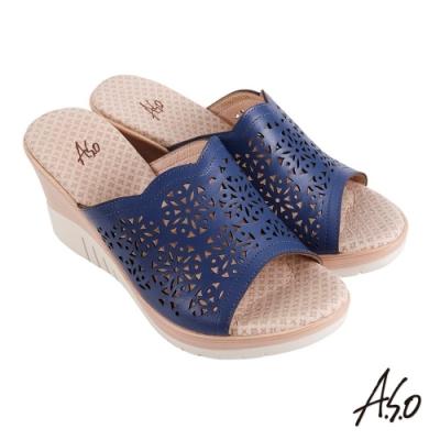 A.S.O 機能休閒 厚底美學沖孔設計楔型涼拖鞋-深藍