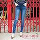 日系小媽咪孕婦裝-孕婦褲~破損感造型口袋銅釦牛仔褲 M-XXL