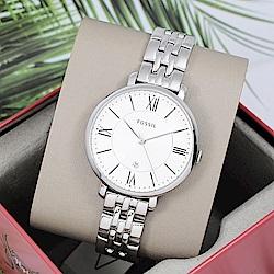 FOSSIL 美國精品手錶 JACQUELINE羅馬刻度白錶盤x銀錶框金屬錶帶36mm