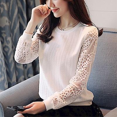 DABI 韓國風名媛氣質長袖蕾絲縷空時尚雪紡長袖上衣