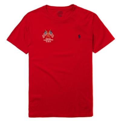 Polo Ralph Lauren 經典刺繡小馬圓領圖案短袖T恤-紅色