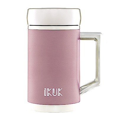 IKUK艾可 陶瓷保溫杯手把辦公杯400ml