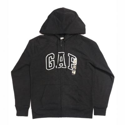 GAP 經典LOGO連帽外套(女)-深灰色