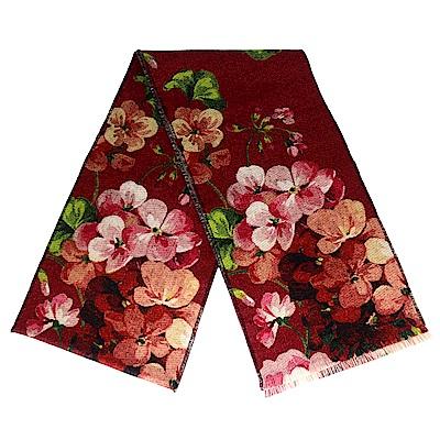 GUCCI 紅色花朵印花/灰色 G LOGO 雙面100%羊毛圍巾