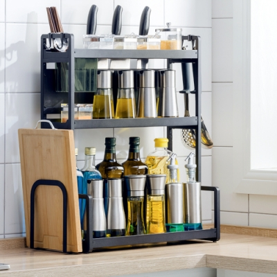【HappyLife】50cm三層廚房收納架+刀架+筷子筒+砧板架 50×22×61.5CM
