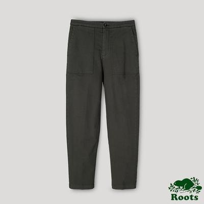 Roots女裝- 百搭平織長褲-綠色
