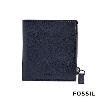 FOSSIL PHILLIP 真皮拉鍊零錢袋兩折短夾-海軍藍