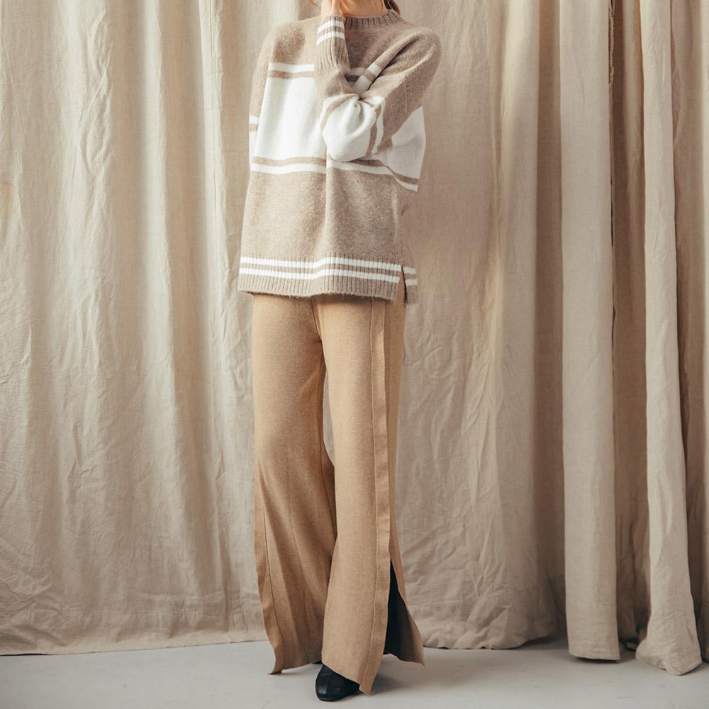REESE 長腿款 側衩落地針織褲  杏