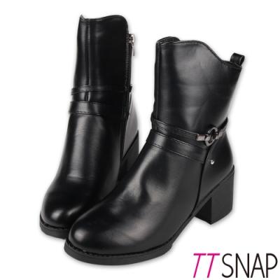 TTSNAP中筒靴-韓國空運秋冬顯瘦保暖刷毛中跟靴 黑