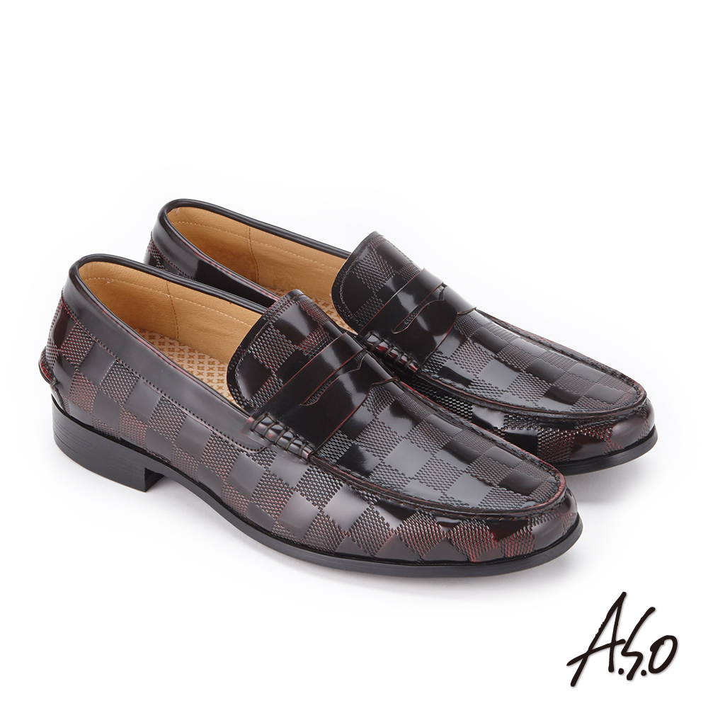 A.S.O 3D超動能 鏡面牛皮扣帶奈米紳士鞋酒紅