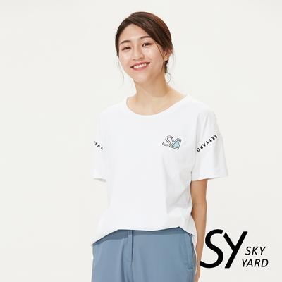 【SKY YARD 天空花園】童趣色塊插畫印圖寬版圓領造型上衣-白色