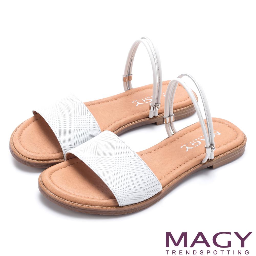 MAGY 壓紋羊皮兩穿寬版平底 女 涼拖鞋 白色