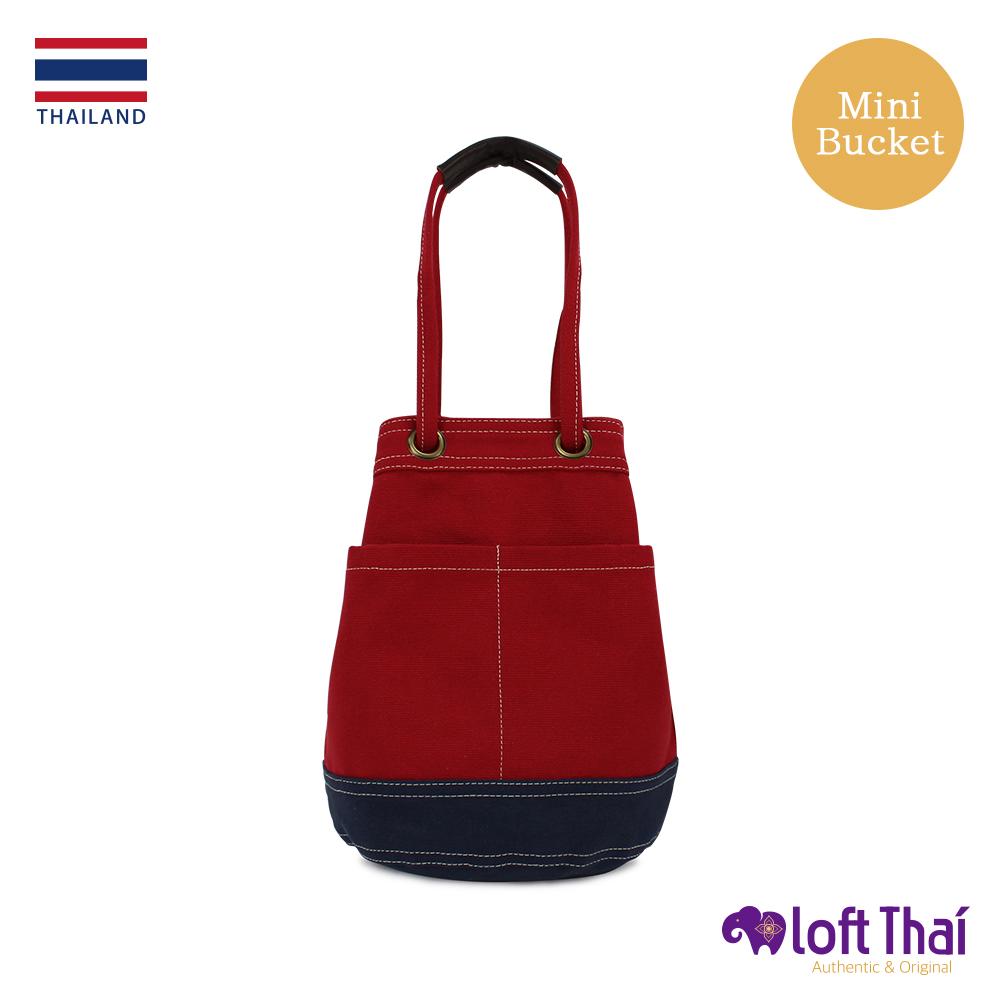 Loft THAI | 泰.兩用帆布水桶包(小) | Red/navy