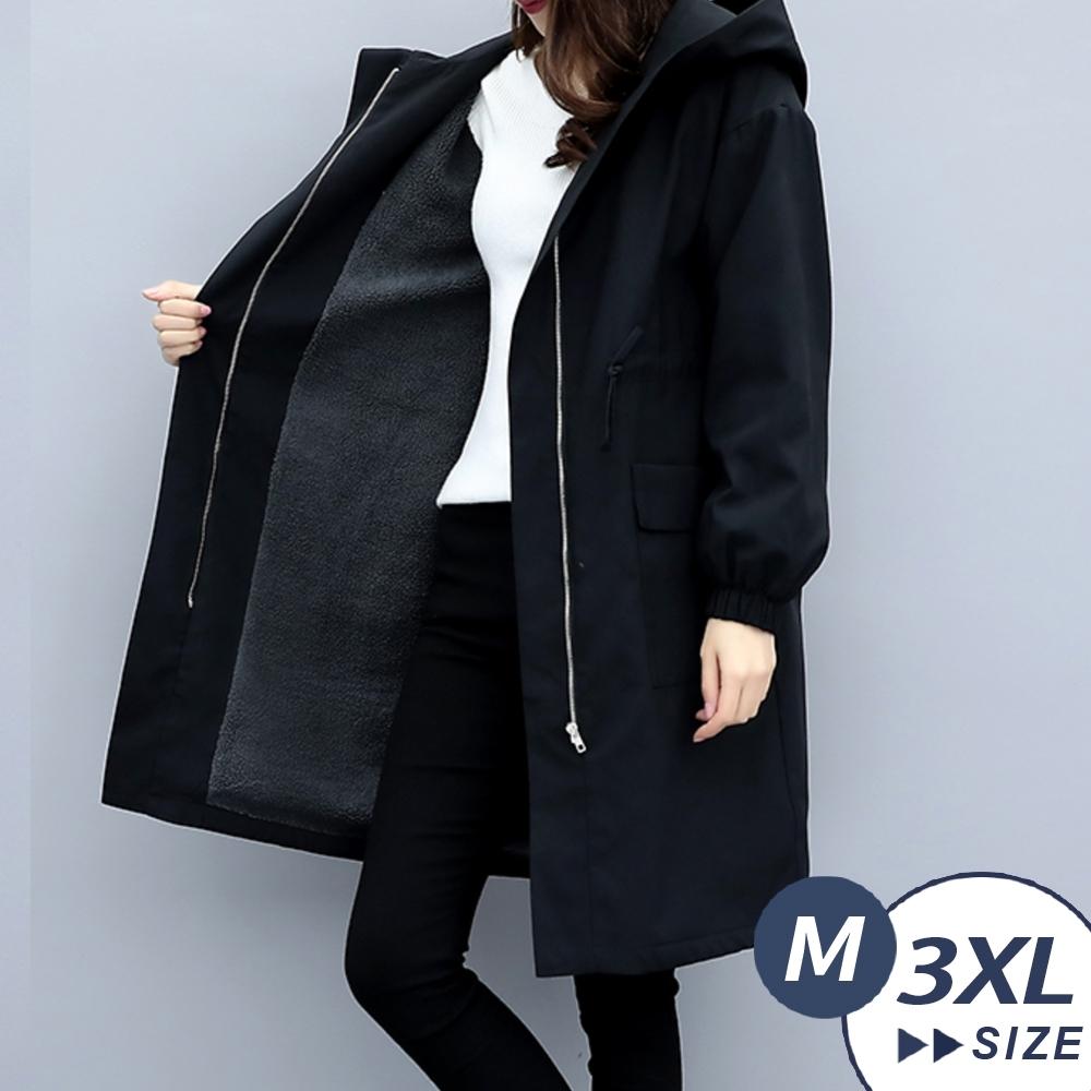 【LANNI 藍尼】現貨 完美比例連帽顯瘦加絨風衣(中長版外套/鋪棉外套/風衣/大衣)