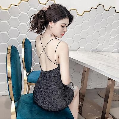 DABI 韓國風性感閃光深v皺褶露背不規則開叉系帶無袖洋裝