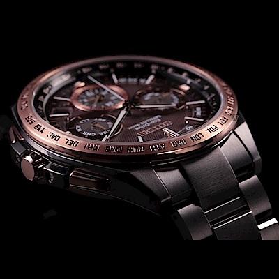 CITIZEN 星辰 光動能鈦GPS衛星對時錶-黑x玫瑰金/43mm
