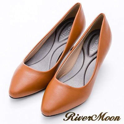 River&Moon百搭繽紛素面通勤記憶鞋墊尖頭跟鞋-深棕