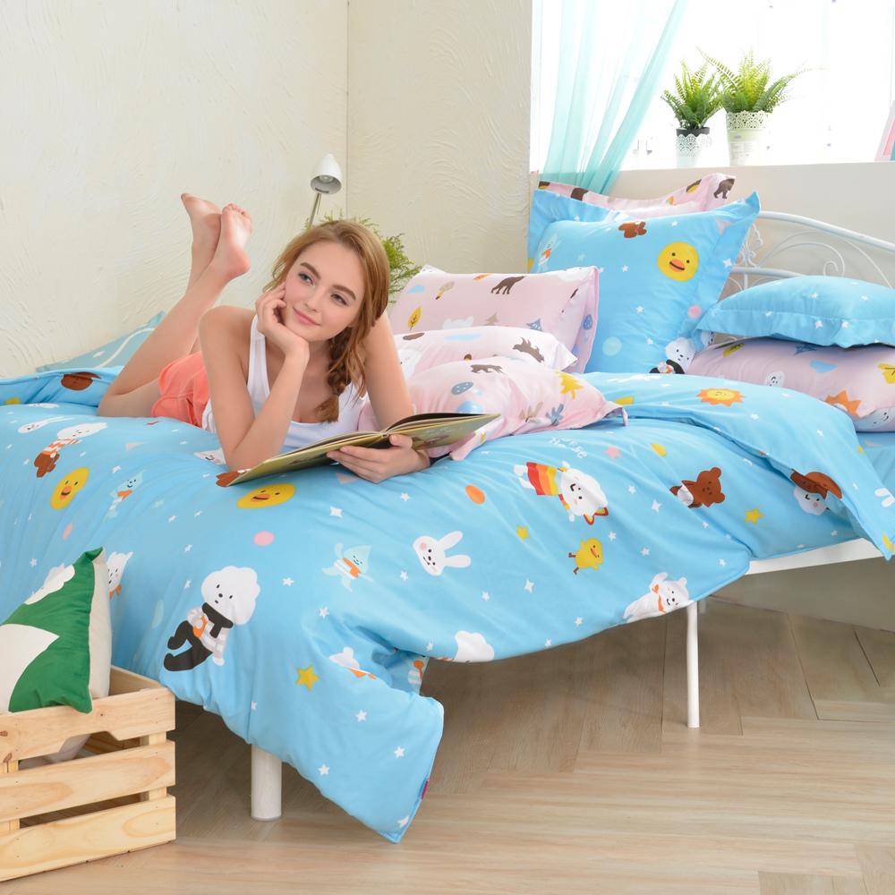 英國Abelia 白日夢飛翔 雙人天使絨兩用被床包組
