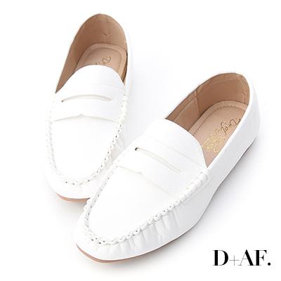 D+AF 質感推薦.經典款超軟平底樂福鞋*白