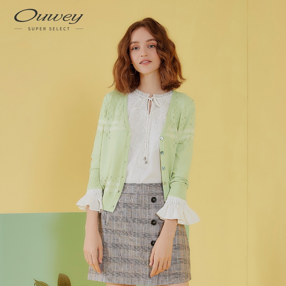 OUWEY歐薇 微縷空挑洞造型針織外套(粉/綠)