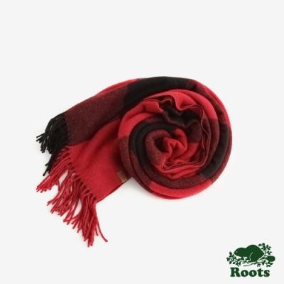ROOTS配件- 經典格紋披巾 -紅